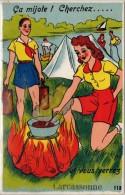 Villes Avec Système Dépliant – Carcassonne, Scouts, Camping, Feu De Bois - Carcassonne