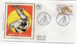 """1987--enveloppe FDC """"Soie"""" -CLERMONT-FERRAND--Championnat Du Monde De Lutte--cachet  CLERMONT--63 - FDC"""