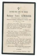 IMAGE PIEUSE. GENEALOGIE..Avis De Décès De 1915, Ma Dame Veuve LEMERCIER, Née Monique LECOQ, à CERENCES ( Manche 50) - Images Religieuses
