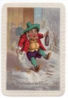 RARE Belle Chromo Anglaise Victorian Card Repas Fête Oie Bouteille Vin Boisson Chute Neige Bourgeois Carte Voeux Noël - Chromos