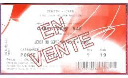 Ticket de concert Christophe MAE le 20/09/2010 � Caen - Z�nith p.19 - cf.scan recto/verso