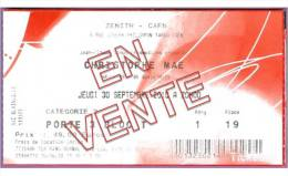 Ticket De Concert Christophe MAE Le 20/09/2010 à Caen - Zénith P.19 - Cf.scan Recto/verso - Tickets De Concerts