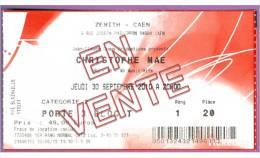 Ticket De Concert Christophe MAE Le 20/09/2010 à Caen - Zénith P.20 - Cf.scan Recto/verso - Tickets De Concerts