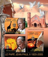 CA11301a Central Africa 2011 Pope John Paul II MNH Mini Sheet - Zentralafrik. Republik