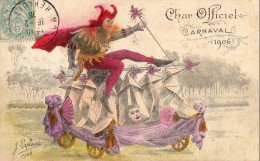 MONTPELLIER     Char Officiel Carnaval 1906 - Dessin Diable Sur Char , Signe J. LAPLAINE - Montpellier