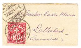 Schweiz - Sehr Kleines Briefli 27.12.1901 Wohlen Nach Latterbach - Briefe U. Dokumente