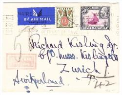 Schweiz - 50Rp. Porto Auf Luftpost Brief Aus Uganda Nach Zürich - Portomarken