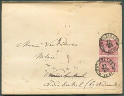 N°46(2) - 10 Rose (x2) Obl. Sc BRUXELLES 5 Sur Enveloppe Datée Du 29 Mai 1887vers Nederbrakel. - 10656 - 1884-1891 Leopold II