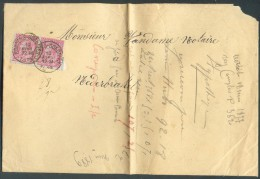 N°46(2) - 10 Rose (paire) Obl. Sc HOUDENG-GOEGNIES Sur Enveloppe Datée Du 10 Avril 1889 Vers Nederbrakel. - 10658 - 1884-1891 Léopold II