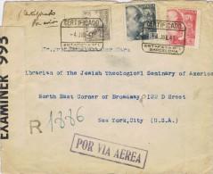 13890. Carta Aerea Certificada BARCELONA 1941. Doble CENSURA Española Y Americana - 1931-50 Briefe U. Dokumente