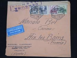 ESPAGNE - Enveloppe De Valencia Pour La France En 1937 Par Avion Avec Censure - Aff. Plaisant - à Voir - P8734 - Republikanische Zensur