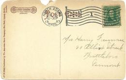 LETTRE FLAMME DRAPEAU DE North Adams En 1907 - Poststempel