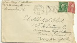 LETTRE FLAMME DRAPEAU DE GREENSBURG EN 1918 - Poststempel