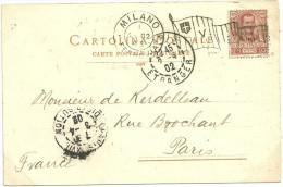 LETTRE FLAMME DRAPEAU DE MILANO FERROVIA EN 1902 - Marcophilia