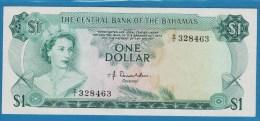 BAHAMAS 1 Dollar L. 1974  SERIE D1  P# 35a  Elizabeth II  Fractional Serial # Prefix   SUP/XF - Bahamas