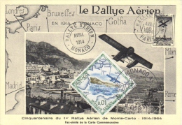 Monaco Maxi Carte -  Cinquantenaire Du 1er Rallye Aérien De Monte Carlo - 1914-1964 - Avions
