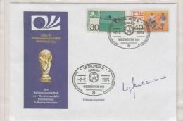 Germania - FDC Con 2 Val. E Due Annulli + Autografo - Coppa Del Mondo