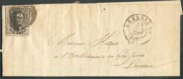 N°3 - Médaillon 10 Centimes Brun, à Peine Effleuré à Droite Sinon Bien Margé Et 2 Voisins, Obl. P.24 Sur Lettre De BRUXE - 1849-1850 Médaillons (3/5)