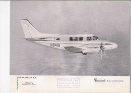 C1845 - AVIAZIONE - FOTOGRAFIA CON SCHEDA CARATTERISTICHE TRANSAIR  - AEREI BEECHCRAFT MOD. QUEEN AIR 80 - Écorchés (schémas)