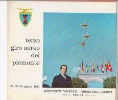 C1855 - AVIAZIONE - PROGRAMMA 3° GIRO AEREO DEL PIEMONTE 1964 - AEROPORTO AEROSCUOLA CERRINA BRUINO - TORINO - Programs