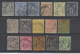 FRANCE - LOT DE 16 TIMBRES TYPE SAGE- POUR ETUDE DES OBLITERATIONS ET VARIETES - 1876/1898 - COTE YT: 82.00€ - 1876-1898 Sage (Type II)