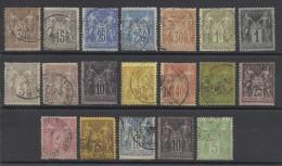 FRANCE - LOT DE 19 TIMBRES TYPE SAGE- POUR ETUDE DES OBLITERATIONS ET VARIETES - 1876/1898 - COTE YT: 96.00€ - 1876-1898 Sage (Tipo II)