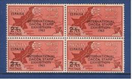 Pakistan 1963 Dacca Stamp Exhibition 13p. Block Of 4 - Pakistan
