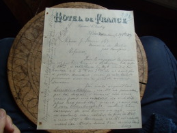 1891 Ancienne Facture Hotel De France Rotterdam Proprietaire Landry - Francia