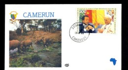 CAMEROON CAMEROUN * FDC VISIT POPE JOHN PAUL II 1985 RHINO FLAG - Cameroon (1960-...)
