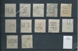 Uitgifte Heraldische Leeuw  1929 - 12 Zegels Met Firmaperforatie - Lochung