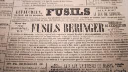 FUSILS LEFAUCHEUX / FUSILS BERINGER - PUBLICITE DE 1843 DANS LE JOURNAL DES DEBATS. - Journaux - Quotidiens