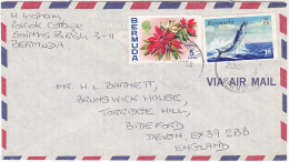 Air Mail BERMUDA COVER Stamps   WAHOO FISH , FLOWER  Flowers - Fishes