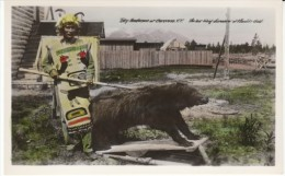 Taky Henderson Native American Fashion, Bear, Klondike Gold Rush 'Last Living Discoverer', C1930s/40s Vintage Postcard - Yukon