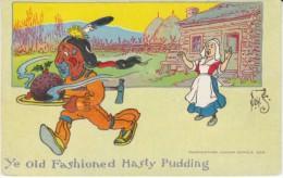 Denslow Artist Signed 'Ye Old Fashioned Hasting Pudding' Indian Steals Food, Humor, C1900s Vintage Postcard - Other Illustrators
