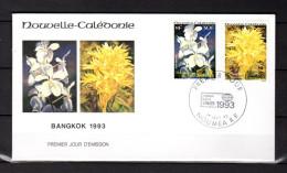 """NOUVELLE-CALEDONIE 1993 : Enveloppe 1er Jour  """" ORCHIDEES : VANDA COERULEA + MEGASTYLIS . """". N° YT PA 303 04. Parf état. - Orchidées"""