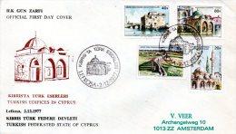CHYPRE TURC. N°37-40 De 1977 Sur Enveloppe 1er Jour. Mosquée/Aqueduc. - Mosquées & Synagogues