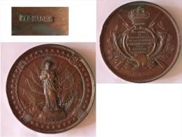 RARE MEDAILLE COMMEMORATION 1892 ARMéE INFANTERIE DRAPEAUX VIERGE MARIE ESPAGNE - Royal/Of Nobility