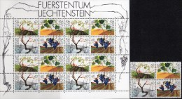 Weinanbau 1994 FL Liechtenstein 1089/2 4-Block+16-Kleinbogen ** 25€ Wein-Rebe In Jahreszeiten M/s Sheetlet Bf Fürstentum - Agricoltura