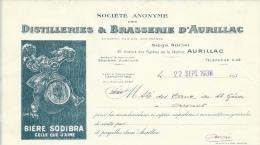 Ancienne Facture  Bière Distillerie & Brasserie D´Aurillac Bière SODIBRA  Dessin Signé  Datée Du 22 Sept 1938 - Factures