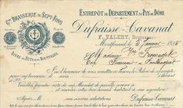 Ancienne Facture  Bière Gde Brasserie De Sept-Fons  Bière Fûts Et En Bouteilles Dufraisse-Cavanat 5 Janvier 1895 - Factures
