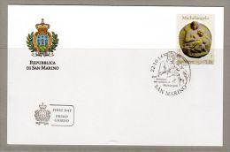FDC SAN MARINO 450 ANNIVERSARIO DELLA SCOMPARSA DI MICHELANGELO - 450 ANNIVERSAIRE DE LA DISPARITION DE Michel-ange 5.35 - Escultura