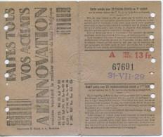 TICKET DE TRANVIAS DE BRUSELAS // 1929