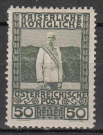 austria   scott no.  121    unused hinged      year  1908