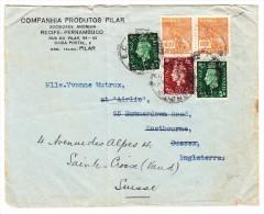 Brasilien Pernambuco Brief Nach Eastbourne GB Frankiert Und Weitergesendet Nach Ste Croix CH - Lettres & Documents