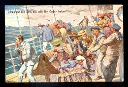 Es Rast Die See, Sie Will Ihr Opfer Haben / Moos / Nice 'Hamburg-Helgoland Seepost' Cancel / Postcard Circulated - Moos, Carl