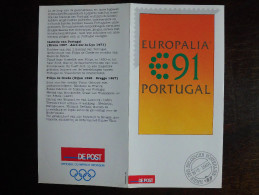 België Belgium - Folder Postzegeluitgifte: 1991 Europalia Portugal Gemeenschappelijke Uitgifte / Joint Issue - Timbres