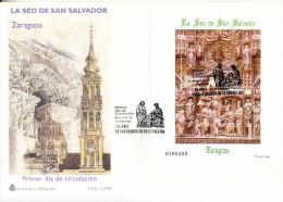 ESPAÑA 1998.EDIFIL Nº 3595 .LA SEO DE SAN SALVADOR.ZARAGOZA .SES GRANDE AMARILLO/AZUL - FDC