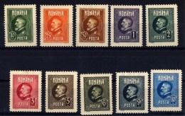 1926 Romania Roumanie Rumanien - Full Set King Ferdinand 60th Anniv 10 V., Sc 291/301  Mi 293/302 With Gum MLH - Nuovi