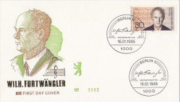 WILHELM FURTWANGLER, COMPOSER, EMBOISED COVER FDC, 1986, GERMANY - Musica