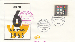 ROAD SAFETY, TRAFFIC SIGNS, STAMPS ON 6.06.1966 SPECIAL COVER, 1966, GERMANY - Accidents & Sécurité Routière